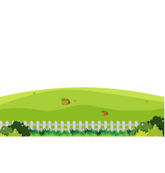 Scenery background green field with white fence vector