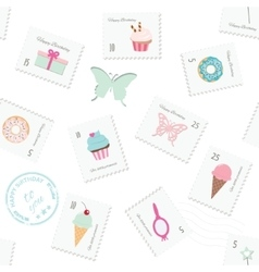 Seamless pattern background with postage stamps vector image