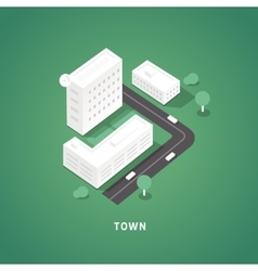 set isometric city buildings vector image