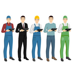 set of men with a digital tablet vector image