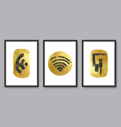 set of modern abstract wall art compositionshand vector image
