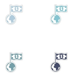 Set of paper stickers on white background earth vector