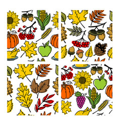 Set of seamless patterns of autumn elements vector