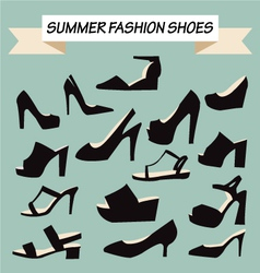 Set of summer fashion female shoes vector