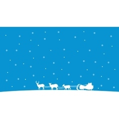 Silhouette of train Santa Christmas landscape vector