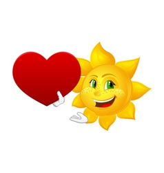 Smiling sun with big heart vector