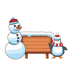 snowman and penguin with blank wooden sign vector image