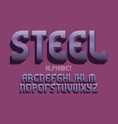 steel alphabet metal 3d letters font isolated vector image