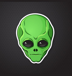 Sticker head alien with green skin vector