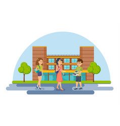 students and pupils on background university vector image