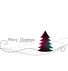Stylish christmas tree with swirl lines background vector