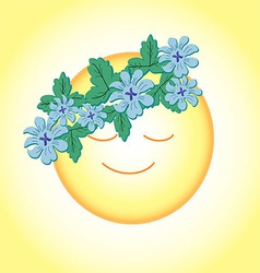 sun is smiling with a wreath of flowers vector image