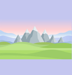 Sunset or dawn in mountains landscape - modern vector