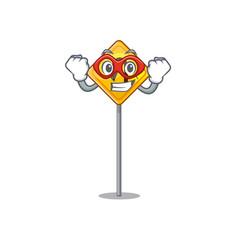 Super hero u turn sign shaped cartoon vector