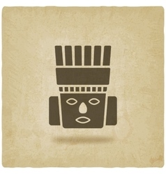 Toltec Warrior head Mexico ancient culture symbol vector