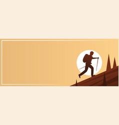 Trekking action sport banner vector