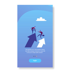 Two businessmen stand on financial arrow up vector