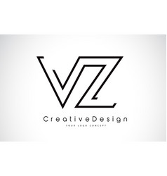 Vz v z letter logo design in black colors vector