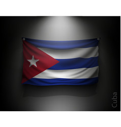 waving flag cuba on a dark wall vector image