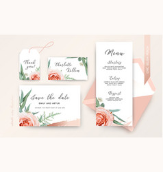 wedding save date menu rsvp place card blush peach vector image