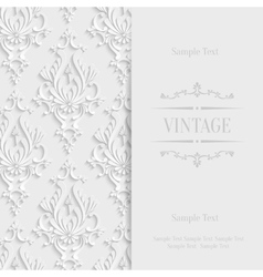 White 3d Vintage Invitation Card with vector image