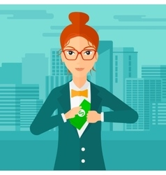 Woman putting money in pocket vector image