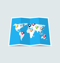 world map with pin location paper map vector image