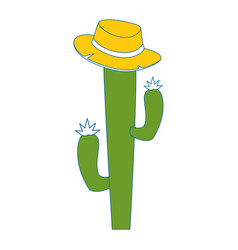 cactus with hat icon vector image vector image