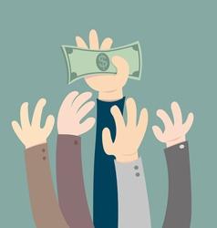 Hand holding dollar vector image