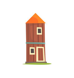 red agricultural tower cilo wooden farm building vector image