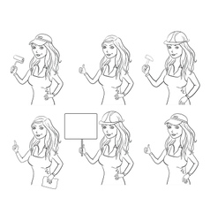 Set women professionals outline vector image