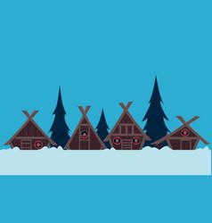 viking village in winter vector image