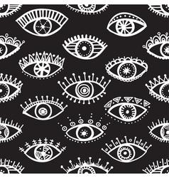 ethnic eyes seamless pattern black background vector image