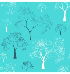 Seamless Pattern of Tree Silhouettes vector image