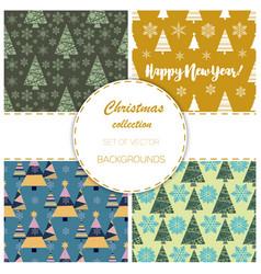 snowflake winter christmas tree holiday fir-tree vector image vector image