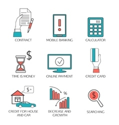 Banking service outline icons set deposit vector image