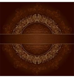 Floral gold frame with vintage patterns on brown vector image
