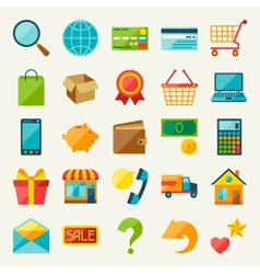 Internet shopping icon set in flat design style vector image vector image