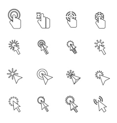 Mouse pointer icons set thin line style vector