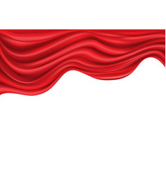 red satin fabric wave on white luxury vector image