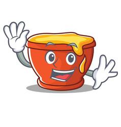 waving honey character cartoon style vector image