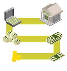 way to the Bank Isometric style vector image vector image