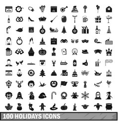 100 holidays icons set in simple style vector image