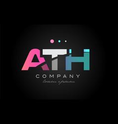 ath a t h three letter logo icon design vector image