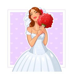 Beautiful bride with bunch of vector image vector image