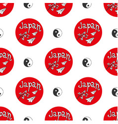 hand drawn seamless pattern with japan culture vector image