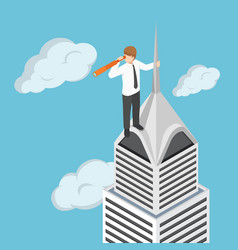 isometric businessman at the top of skyscraper vector image
