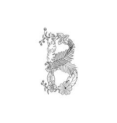 letter b floral ornament vector image