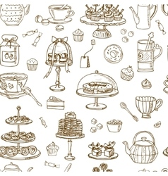 Tea Time Seamless pattern Hand drawn vector image
