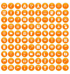 100 hacking icons set orange vector image